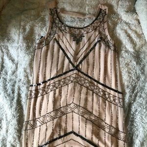 Light pink beaded dress, flapper style dress!